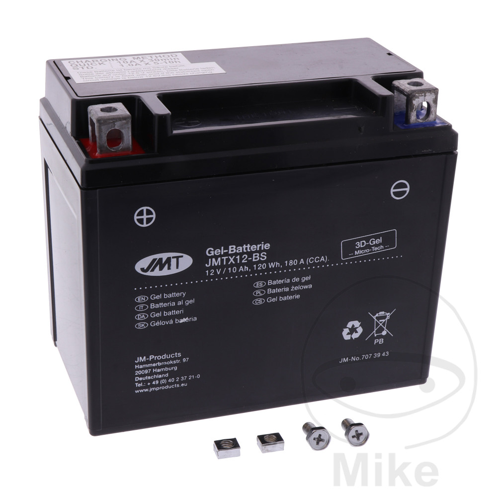 BATTERY MOTORCYCLE YTX12-BS GEL JMT FILLED & CHARGED - 707.39.43