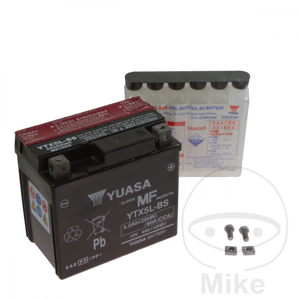 BATTERY MOTORCYCLE YTX5L-BS YUASA INCLUDING ACID PACK - 707.08.57