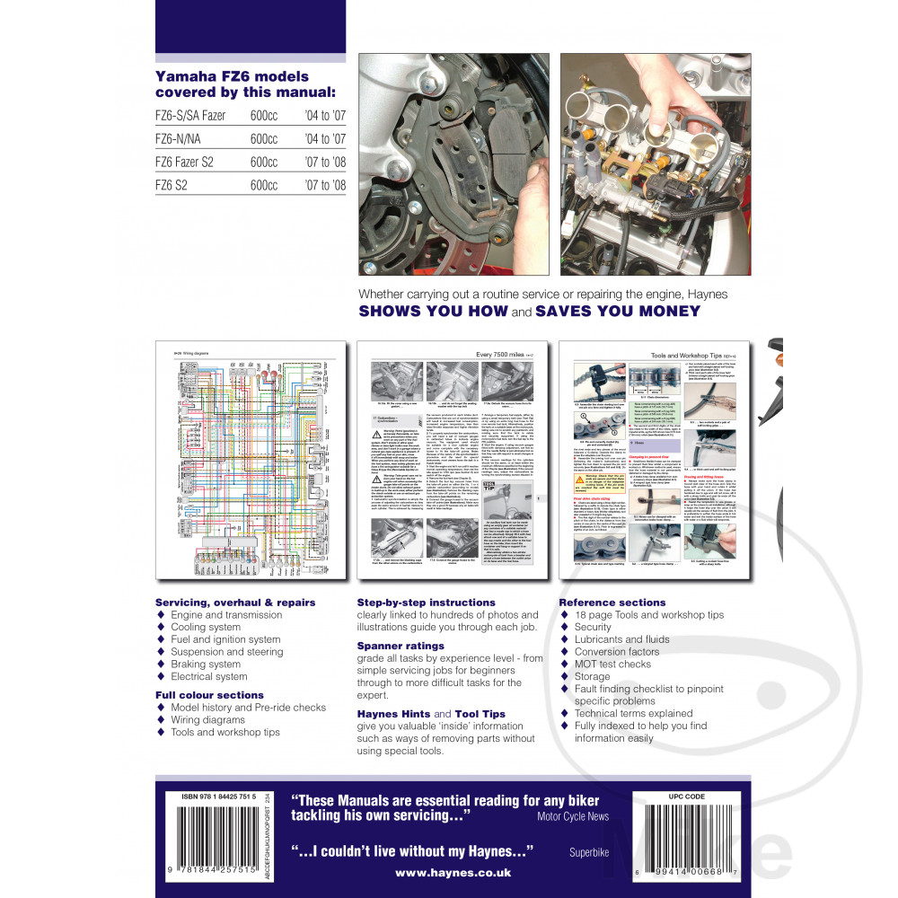 haynes repair manual yamaha fz6 fazer 04 - 08 | motomike on fzr 600 wiring  diagram