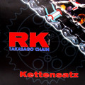 Chain kit RK 520 EXW<br /> Open with Hollow rivet link Gold/Black