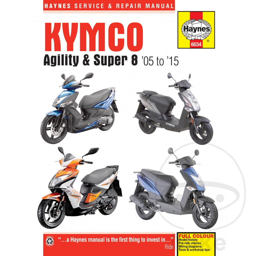 Kymco Agility Super 8 Scooters 05 15 Haynes Repair Manual 6034 2005 Ktm 950 Adventure Motorcycle Wiring Diagram 03 Sentinel Scooter Service