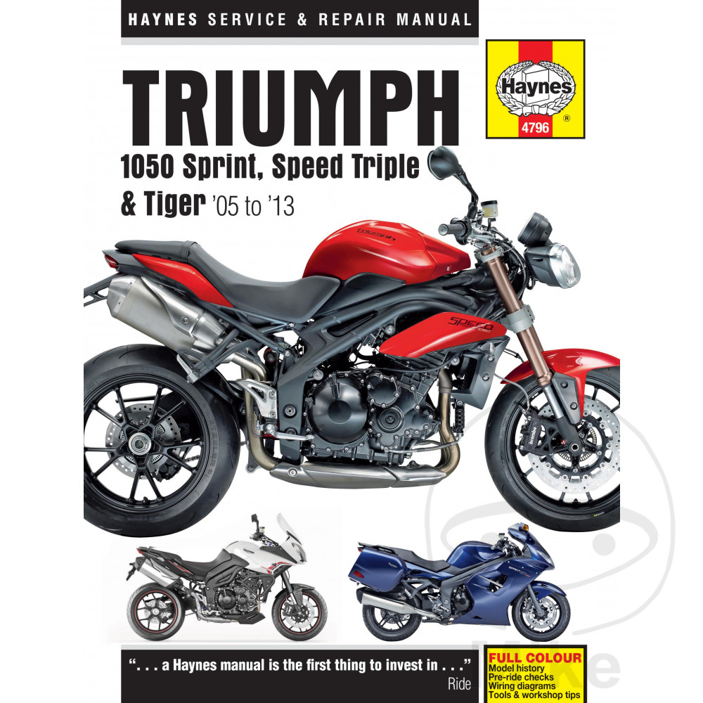 Triumph Tiger 1050 Abs 2011 Haynes Service Repair Manual 4796 Ebay Color Wiring Diagram For 1977 Spitfire Sentinel Motorcycle