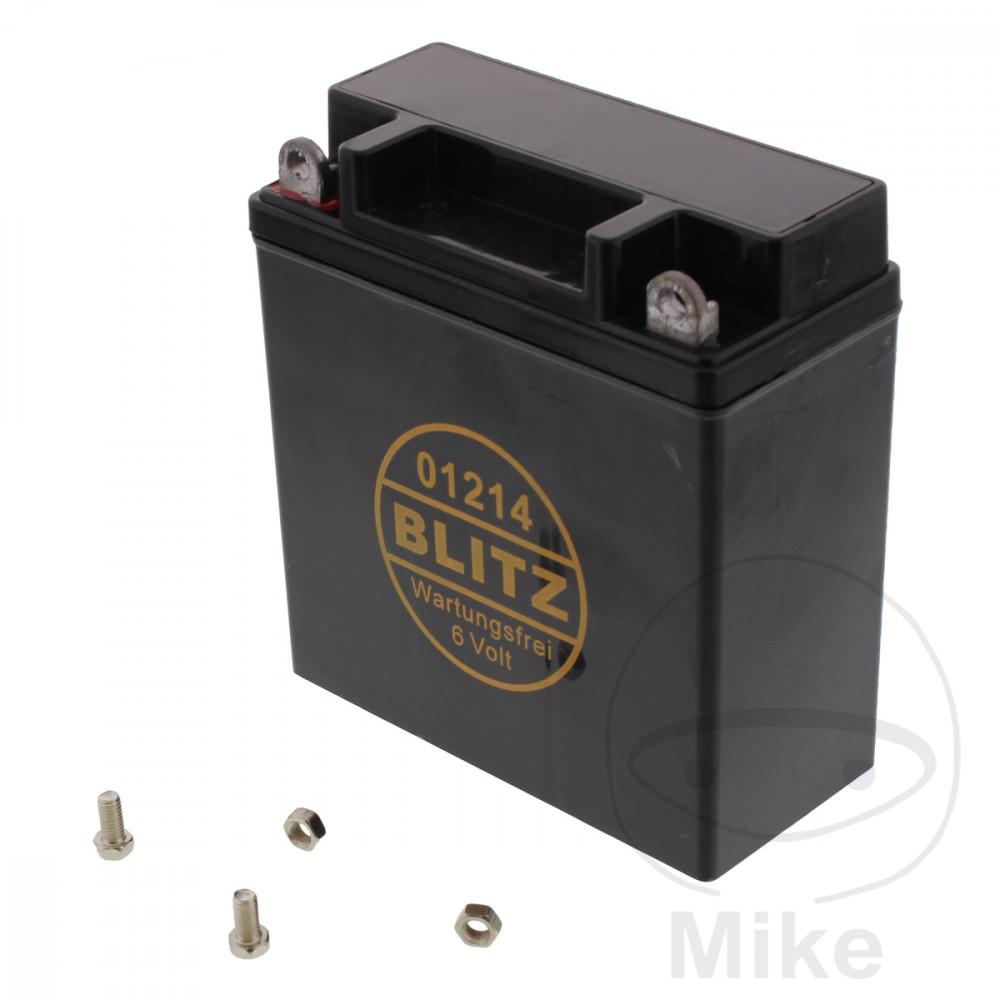 batterie motorrad 01214 gel schwarz 6v ohne deckel blitz. Black Bedroom Furniture Sets. Home Design Ideas