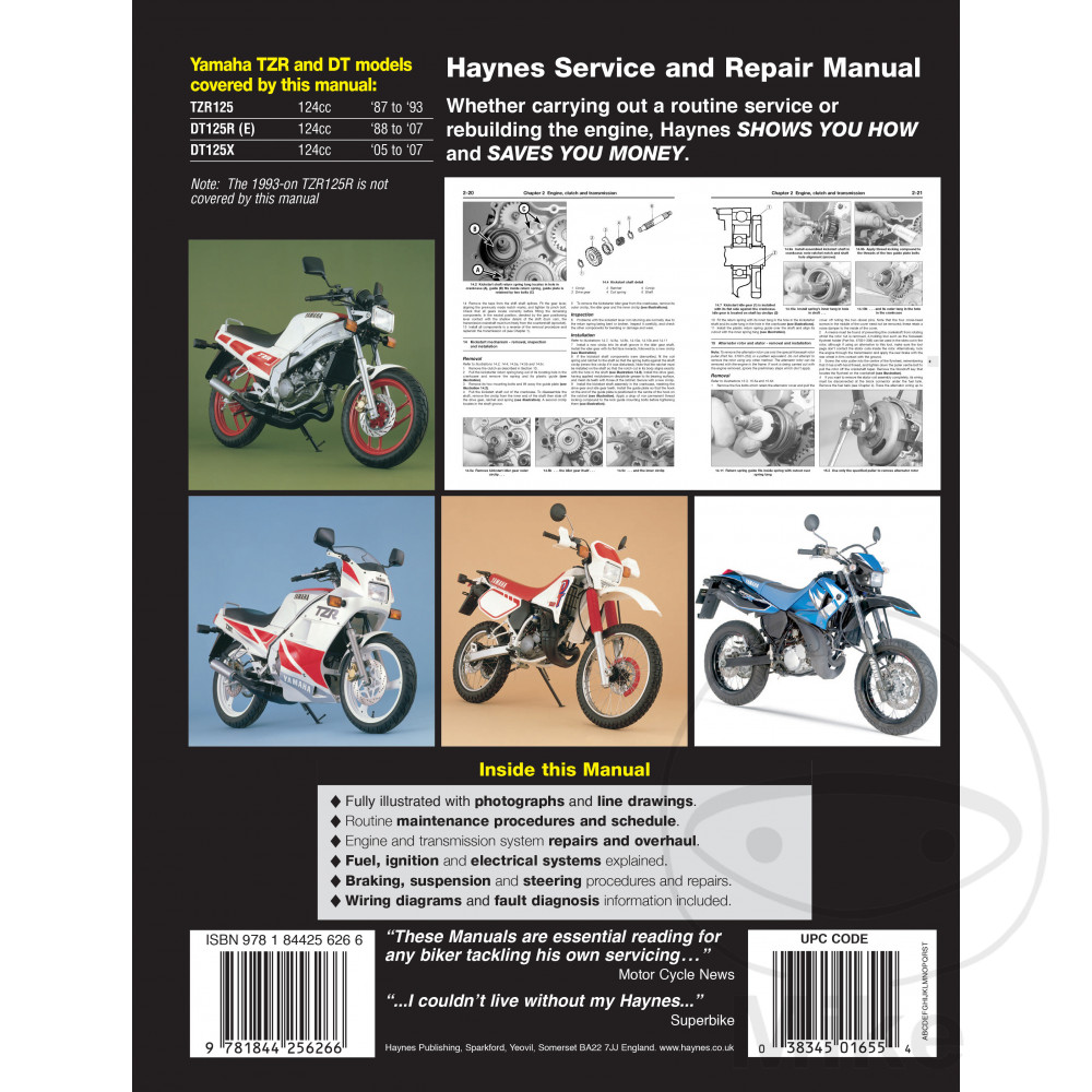 Yamaha Dt 125 R 1994 1995 Haynes Service Repair Manual 1655 Ebay Reading Wiring Diagram Sentinel Motorcycle