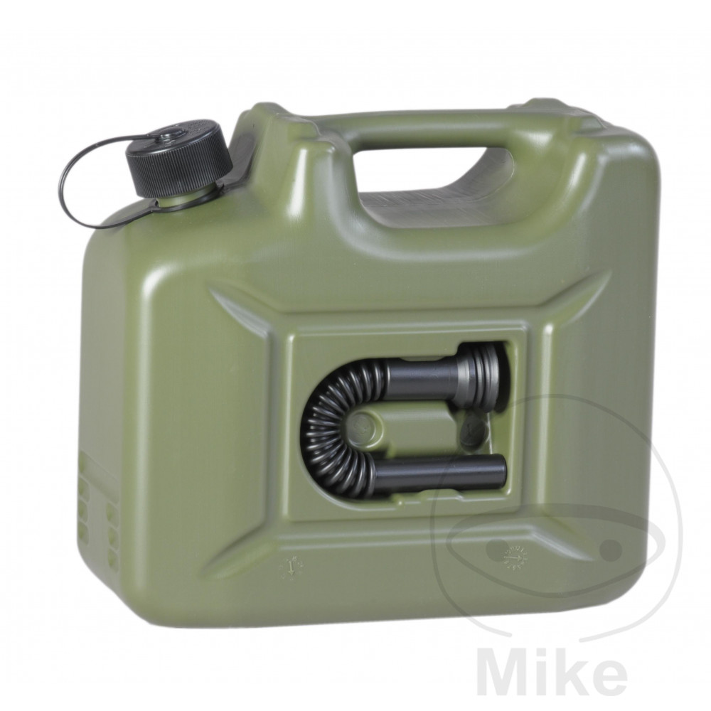 Benzinkanister  10 Liter inklusive 1 Auslaufrohr  Farbe oliv