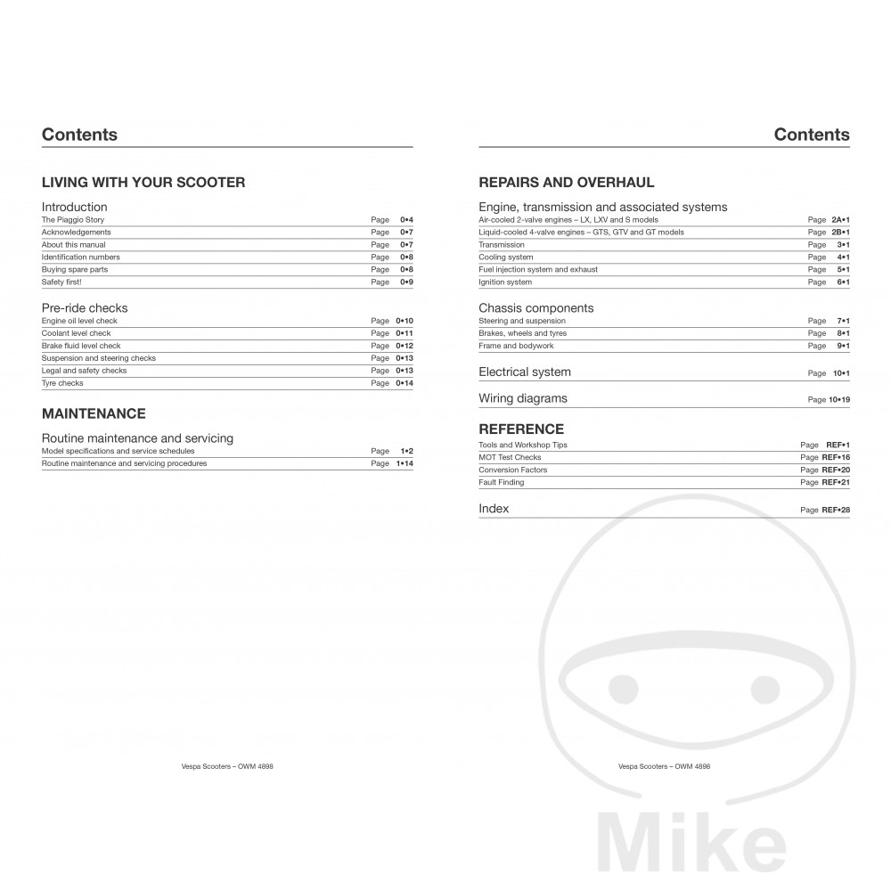 HAYNES REPAIR MANUAL VESPA GTS GTV LX & S 125-300 (05-18 ... on