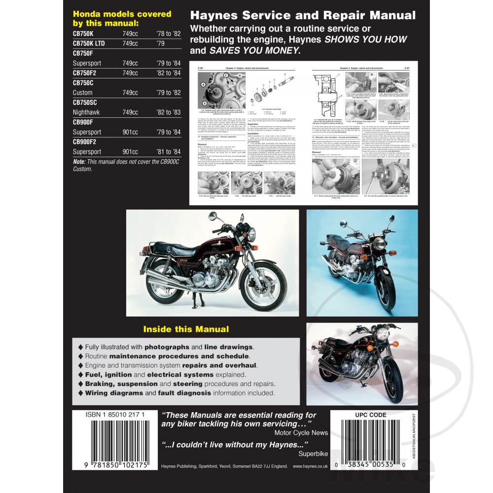 Incredible Haynes Repair Manual Honda Cb750 Cb900 Dohc Fours 1978 1984 Wiring Digital Resources Sapredefiancerspsorg