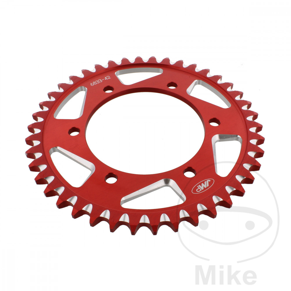 Motorcycle JMP Red Aluminium Rear Sprocket (42 Teeth)