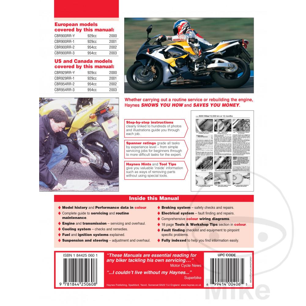 Honda Cbr 900 Rr Fireblade 2001 Haynes Service Repair Manual 4060 Ebay 954rr Wiring Diagram Sentinel Motorcycle
