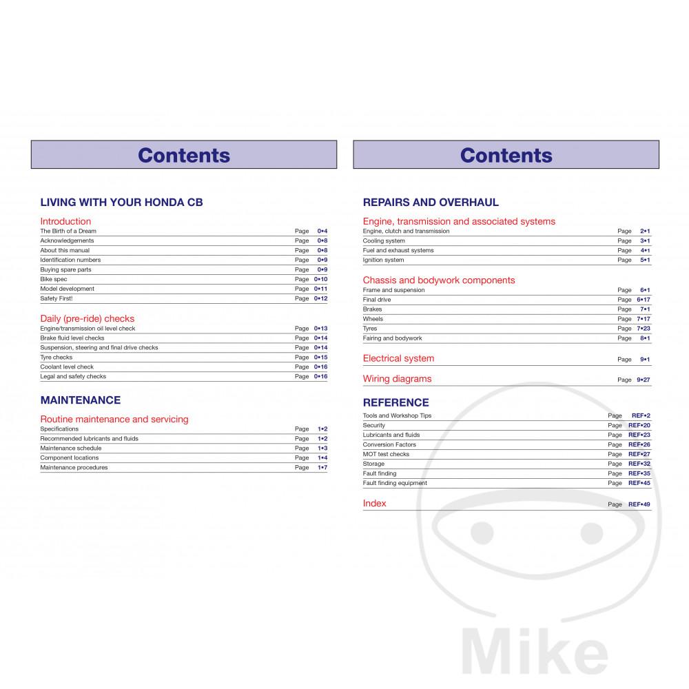 HAYNES REPAIR MANUAL HONDA CB500 93-08. Reparatur Anleitung Honda Reparatur  Anleitung Honda